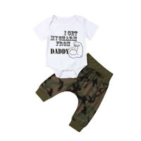 US Toddler Kid Newborn Baby Boy Romper Tops+ Camo Pants Outfit Jumpsuit Clothes