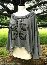 NWT Free People heather gray Oversize Studded Swing Crop Pullover S