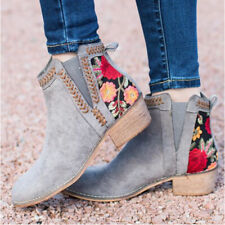 Women Floral Print Booties Block Low Heels Casual Slip On Ankle Boots Shoes Size
