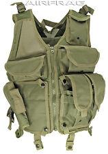 OD Green 903 Mesh Tactical Vest w/ Gun Holster & 6 Front Pockets