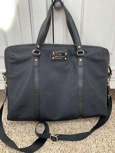 KATE SPADE Black Nylon Large Weekender Duffle Bag Laptop Bag Euc Classic