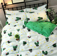 Cactus Print Green Bedding Set Duvet Quilt Cover+Sheet+Pillow Case Four-Piece