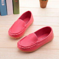 Kids Boys Girls Toddler Soft Loafers Slip On Oxford Flats PU Boat Shoes