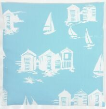 "Clarke and Clarke Beach Huts Yachts Boats Blue 16"" Cushion Cover"