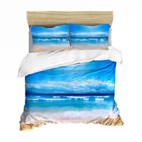 Blue Sea Beach Linen Doona Quilt Duvet Cover Set Single/Double/Queen/King Bed