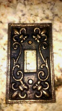 Metal Single Light Switch Plate Cover Old World Tuscan Medieval Fleur de Lis New