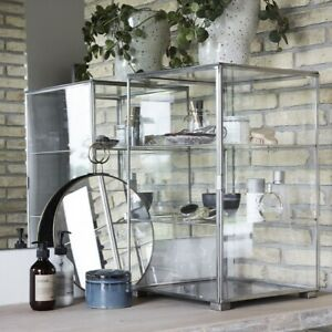 Stainless Steel Storage Cabinet With Glass Door by House Doctor