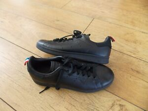 MENS ADIDAS STAN SMITH BLACK LEATHER TRAINERS SIZE 8