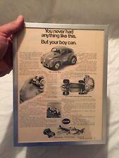 VINTAGE 1970 COX Baja Bug VW Beetle Tether Car ADVERTISEMENT Ad Framed