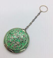 Austrian Antique Sterling Silver Green Enamel Ornate Compact Case