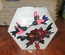 Glass Tealight Candle Holder Hummingbird Floral Trim w/ Candles