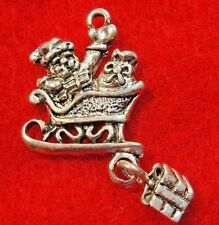 10Pcs. Tibetan Silver Santa Sleigh w/Gift Dangle Sled Christmas Charms Ch89