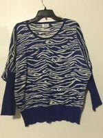 Jon & Anna New York Blue White Zebra Animal Print Sweater Size L Women