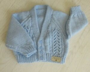 Brand new hand knitted baby cardigan Baby Gift in Pastel Blue 0-6 months