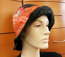 WOOL HAT HANDMADE Felted Cloche Laces Beads Unique Gift For Women Winter Hat