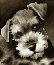 Miniature Schnauzer Puppy Art Print Sepia Watercolor Painting by Artist DJR