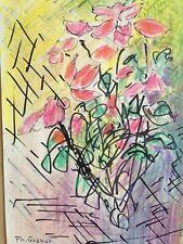 Dessin Pastel Philippe GRANAT (XX) Bouquet de Fleurs Figuratif 1979