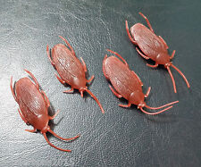4 PACK - Soft Rubber Fake Cockroach (Brown) - Funny Halloween & Practical Joke