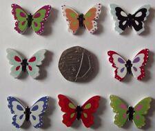 10 Novelty Wooden Buttons Kids Craft Knitting Sewing Card  Butterfly 1