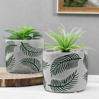 MyGift Set of 2 Chic Concrete Flower Pots with Embossed Green Palm Leaf Pattern