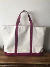 """LL Bean Boat & Tote Cotton Canvas Bag Fuchsia Handles 22x13.5x8"""" USA-Made"""