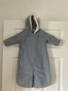 BABYGAP Grey Fleece Lined All In One Snowsuit Coat Age 0-3 Months