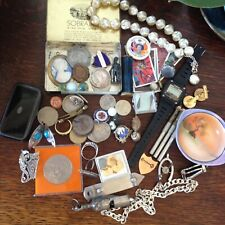 Antiques Vintage Collectables Job Lot - Jewellery/ Curios /Badges /Coins Etc.