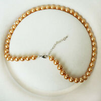 "Natural AAA 8mm Golden  South Sea Shell Pearl Necklace 18""AAA+"