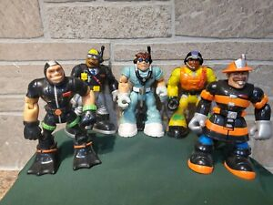 """1998 2000 Mattel Fisher Price RESCUE HEROES 6"""" Inch Lot of 5 EUC"""