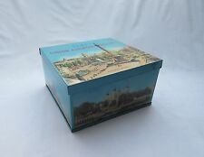 vintage retro London landmarks scenes square biscuit tin .