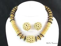 Vintage Signed MIRIAM HASKELL Wooden & Weaved Necklace & Clip Earrings SET