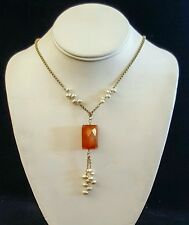 Necklace Freshwater Pearls Faceted Carnelian 14K Gold Fill Chain Handcrafted USA