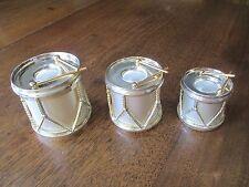 Vintage Godinger Satin Silver Plated Christmas Drum Candle Holder Set