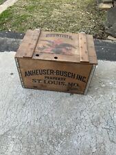 Anheuser Busch Budweiser Beer Wooden Box Crate Case w/ Hinged Lid Vintage