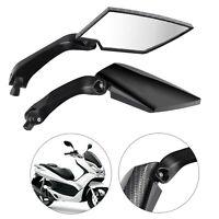 Pair 8/10mm carbon Black fiber Motorcycle Motorbike Wing Side rear view mirror