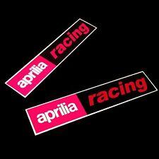APRILIA RACING Reflectante MOTO PEGATINA dibujo rectangular x 2 piezas