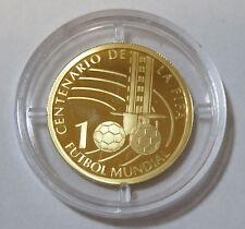 Moneda de oro uruguay 5000 pesos 2004 100 años fifa Fútbol construiste montevideo pp