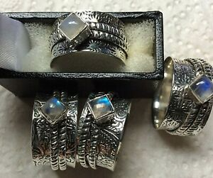 Rainbow Moonstone Spinner Ring, stamped 925 in elegant Leatherette Ring Box