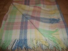 "Vintage Throw Blanket Plaid Multicolor Woolen Mill USA w/ Fringe 40"" x 32""   287"