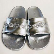 4ffafacbc53 NWT Bebe Metallic Silver Rhinestone Logo Crystal Slides Sandals 6 7 7.5