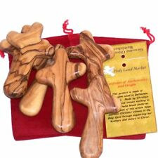 Six Olive wood Comfort Crosses with Velvet bags & Lord's Prayer card - The