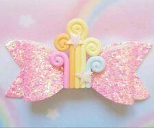 New Kawaii Pink Cute Glitter Rainbow Hair Clip Hair Bow Fairy Kei Cosplay Anime