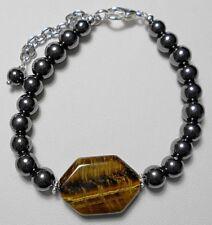 "25mmx18mm Tigers Eye + Hematite beaded 7"" bracelet + extender chain"