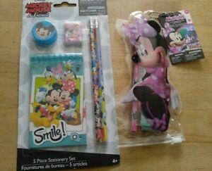 DISNEY Minnie Mouse 5 piece Stationary Set & 4 Piece Stationary Set Pencils NWT