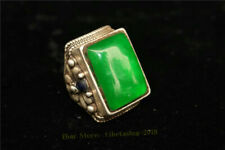 Collect China Exquisite Tibetan silver carved Flower inlay green jade Ring