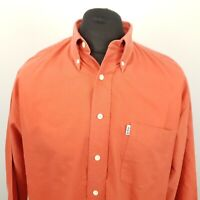 Lee Cooper Mens Vintage Denim Shirt LARGE Long Sleeve Orange Classic Fit Relaxed