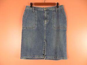 SK07422- RALPH LAUREN Woman 98% Cotton Denim Jean Pencil Skirt Dark Blue Sz 12P