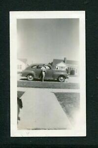 Pretty Girl w/ 1940 DODGE Car Unusual Bad Vintage Photo 473177
