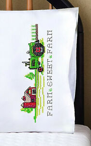 Stamped Embroidery ~ Design Works Farm Sweet Farm Pillowcases #T232209