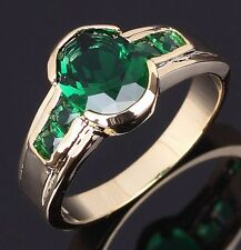 Luxury Mens Size 10 Popular Emerald 18K Gold Filled Fashion Engagement Ring Gift